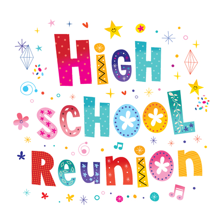High School Reunion Decorative Lettering Text Card Illustration