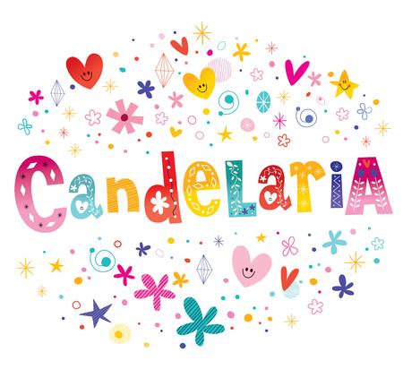 Candelaria Naam Decoratieve belettering Type Design Stock Illustratie
