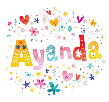 Ayanda 女の子名前装飾レタリング書体  イラスト・ベクター素材