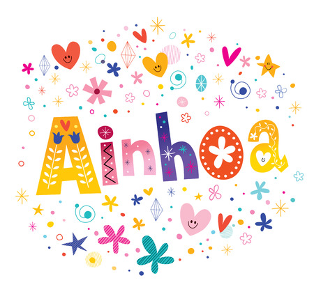 Ainhoa Girls Name Decorative Lettering Type Design