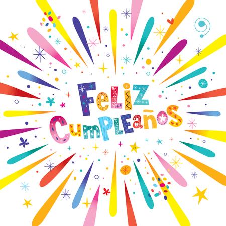 fire works: Feliz Cumpleanos - Happy Birthday In Spanish Greeting Card With Burst Explosion