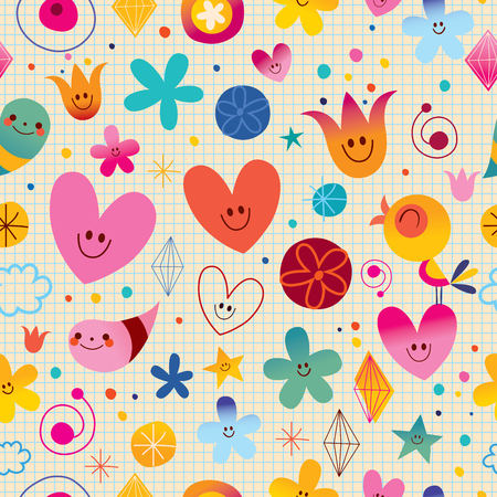 Seamless Pattern With Cute Little Characters