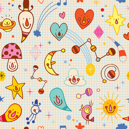 note paper background: Cartoon Characters Seamless Pattern With Note Book Paper Background Illustration