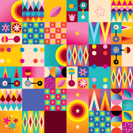 Abstract Art Retro Style Seamless Pattern With Nature Design Elements Иллюстрация