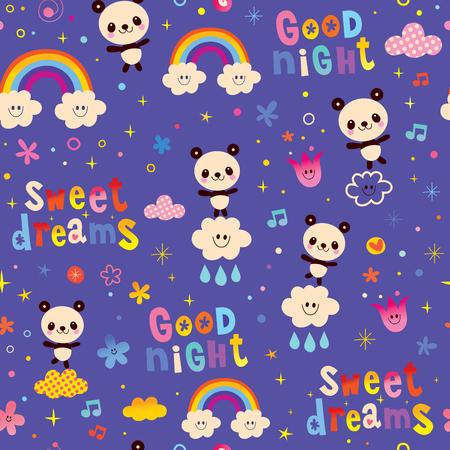 good night sweet dreams kids seamless pattern with cute panda bears