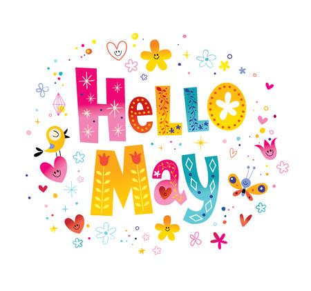 Hallo uniek mei belettering met bloemen en harten lente ontwerp