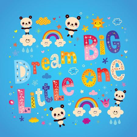 大きな夢を持つかわいい赤ちゃんパンダ クマと小さな子供たち保育園アート