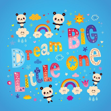 Dream big little one kids nursery art with cute baby panda bears