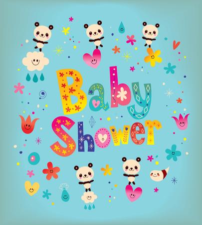 Baby shower kaart met leuke panda beren