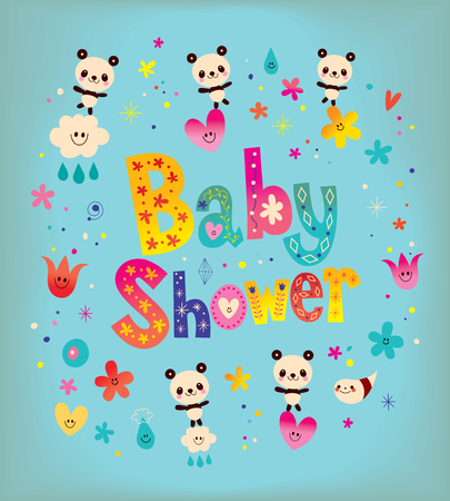 Baby Shower card with cute panda bears Illustration
