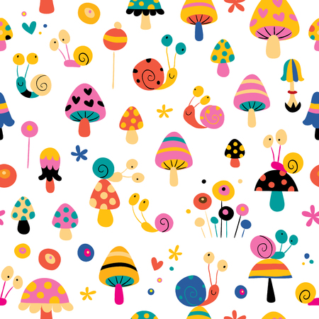 Lovely snails mushrooms flowers cute characters nature seamless pattern. Quality design of striking beauty