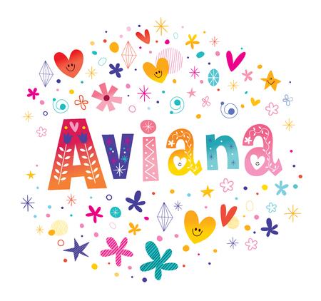 Aviana 女の子名前装飾レタリング型デザイン  イラスト・ベクター素材