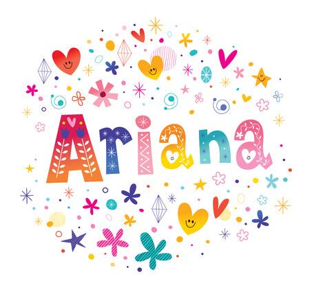 アリアナの女の子名前装飾レタリング型デザイン