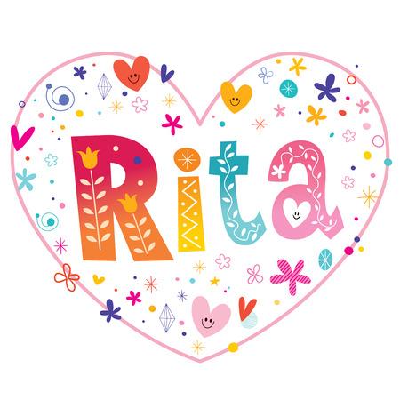 リタの女の子名前装飾レタリング ハート愛設計  イラスト・ベクター素材