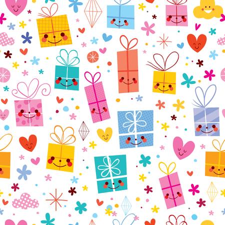 ギフト包装紙お祝いプレゼントのシームレスなパターン