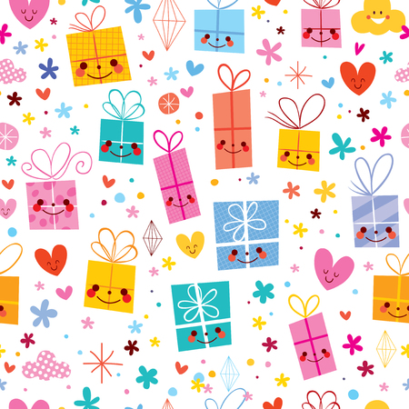 gift wrapping paper celebration presents seamless pattern