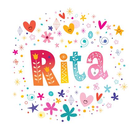 リタの女の子名前装飾レタリング型デザイン