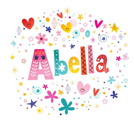 アベラ女の子名前装飾レタリング型デザイン