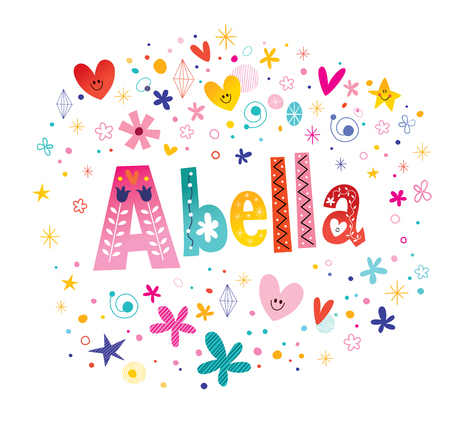 Abella girls name decorative lettering type design Illustration