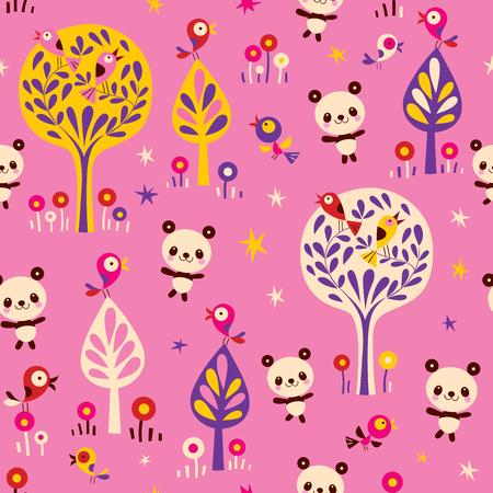パンダ ・ クマと森のシームレスなパターンで鳥  イラスト・ベクター素材