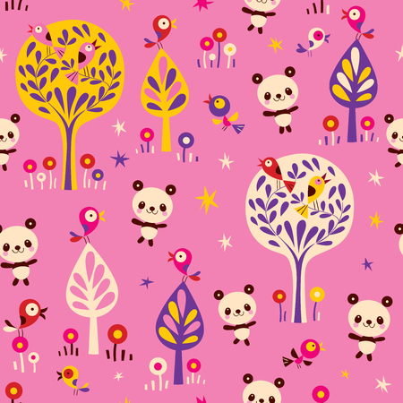 panda bears and birds in forest seamless pattern Иллюстрация