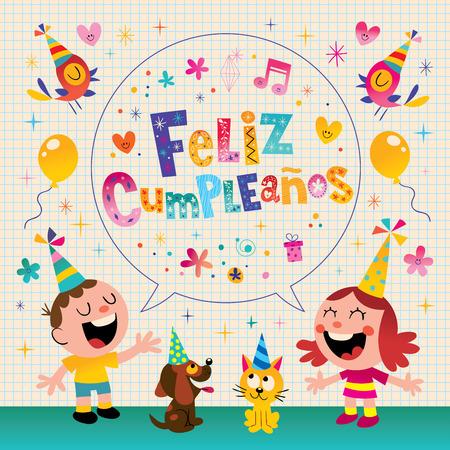 Feliz Cumpleanos - Happy Birthday in Spanish kids greeting card