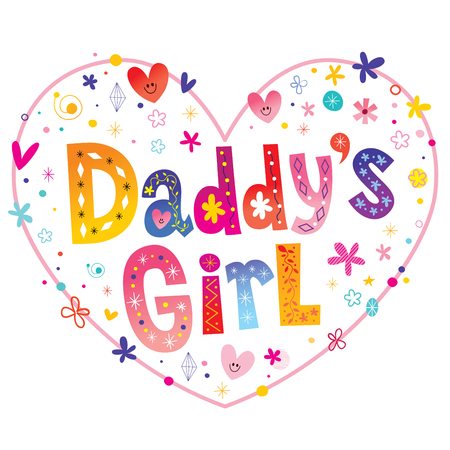 Daddys girl decorative lettering heart shaped design