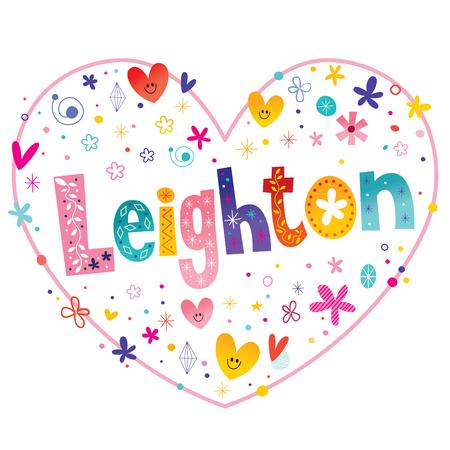 レイトンの女の子名前装飾レタリング ハート愛設計  イラスト・ベクター素材