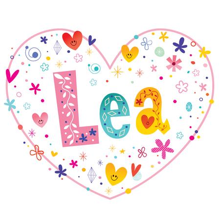 heart shaped: Lea girls name decorative lettering heart shaped love design