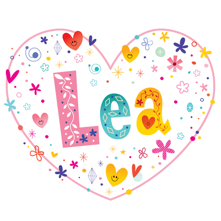 Lea girls name decorative lettering heart shaped love design