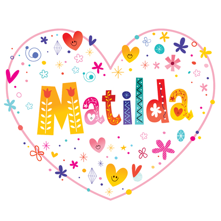 Matilda girls name decorative lettering heart shaped love design