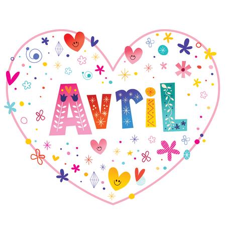 Avril meisjes naam decoratieve letters hartvormige liefde ontwerp