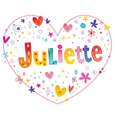 ジュリエット フランス語女性名心をレタリング装飾的な形のデザインが大好き  イラスト・ベクター素材