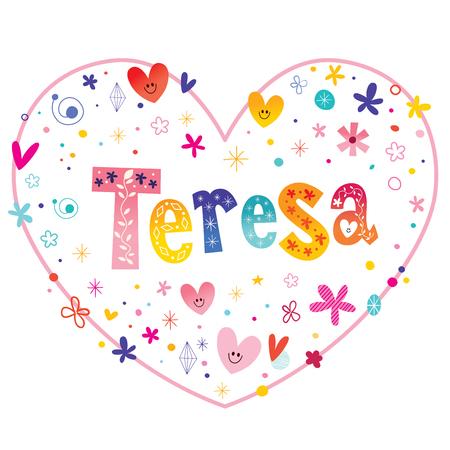Teresa-meisjes noemen decoratieve letters in de vorm van een hartvormig liefdeontwerp