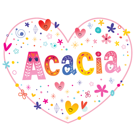Acacia girls name decorative lettering heart shaped love design