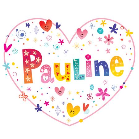 ポーリン ・女性指定した名前装飾レタリング心形愛設計 写真素材 - 78411635