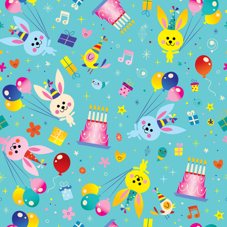 お誕生日おめでとうかわいいウサギ、風船、バースデー ケーキとシームレスなパターンの子供たち