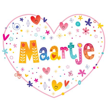 Maartje オランダの女性的な名前心をレタリング装飾的な形のデザインが大好き  イラスト・ベクター素材