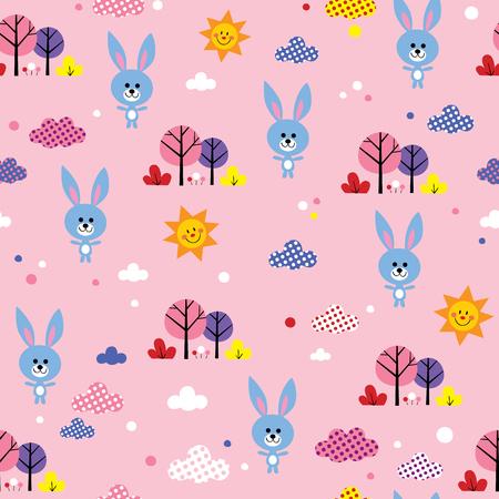 シームレス パターンのかわいい赤ちゃんウサギ。非常に印象的です