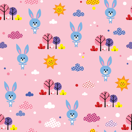 cute baby bunnies in forest seamless pattern. extremely impressive