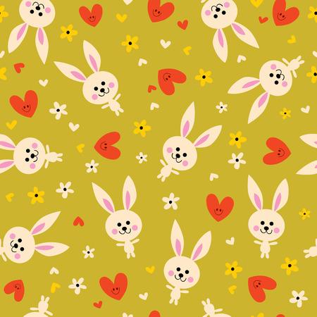 かわいい赤ちゃんうさぎ花と心シームレス パターン