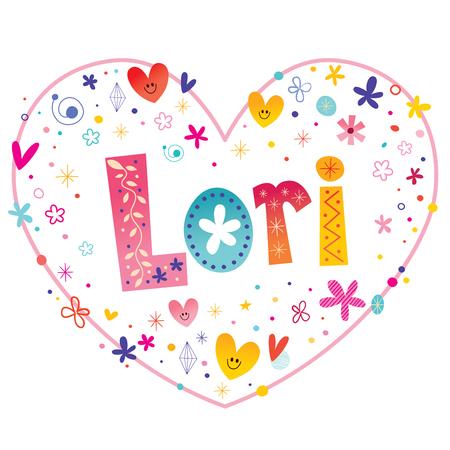 heart shaped: Lori girls name decorative lettering heart shaped love design