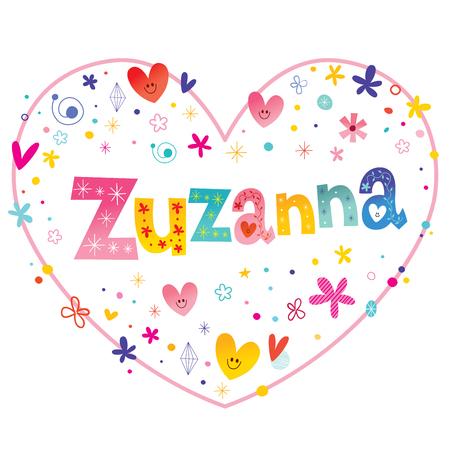 heart shaped: Zuzanna girls name decorative lettering heart shaped love design Illustration