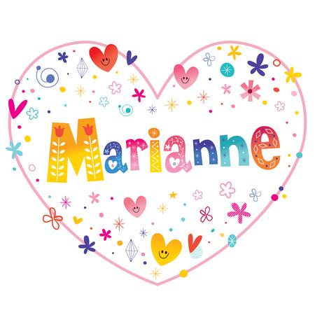 Marianne feminine given name decorative lettering heart shaped love design Ilustracja