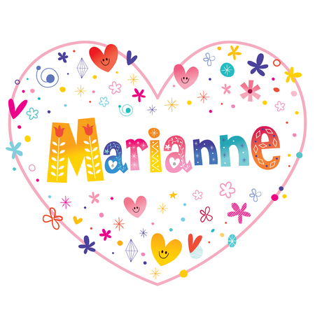 Marianne feminine given name decorative lettering heart shaped love design Illustration