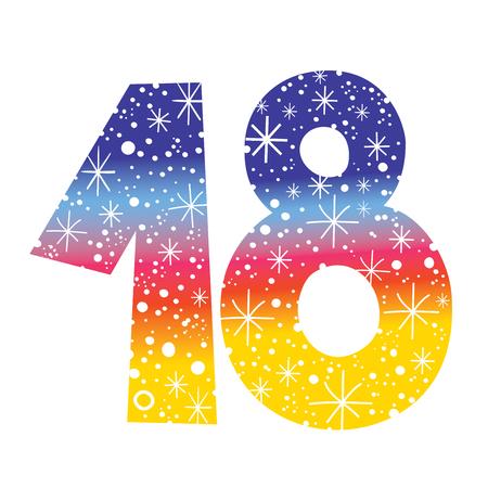 celebratory: celebratory number eighteen for birthdays anniversaries celebrations