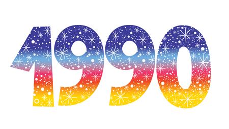 celebratory: decorative celebratory number - year 1990 Illustration