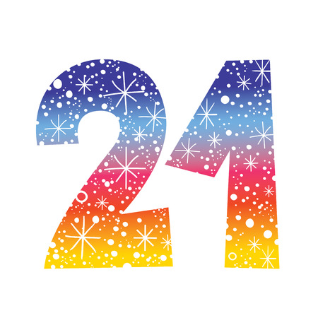 celebratory number twenty one for birthdays anniversaries celebrations Illustration