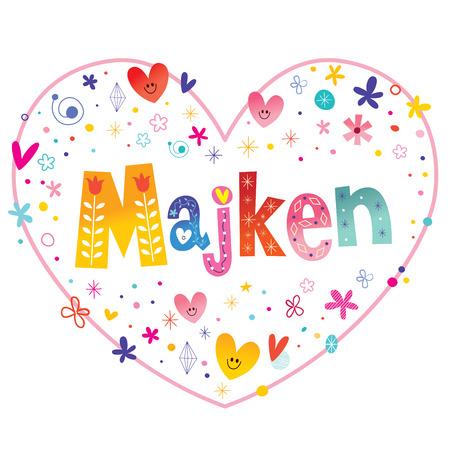 Majken フェミニンな指定した名前装飾レタリング心形愛設計