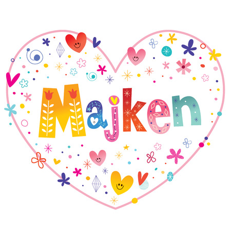 Majken feminine given name decorative lettering heart shaped love design